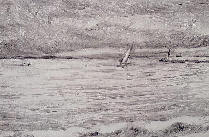 CAPO BEACH SAILING  Pencil 12″ x 12″  12-31-16