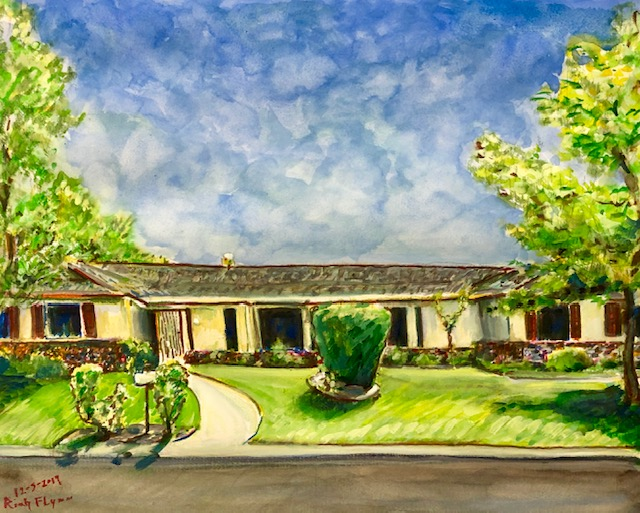 THE HOUSE  Commissioned gift  watercolor  16″ x 20″  12-5-19