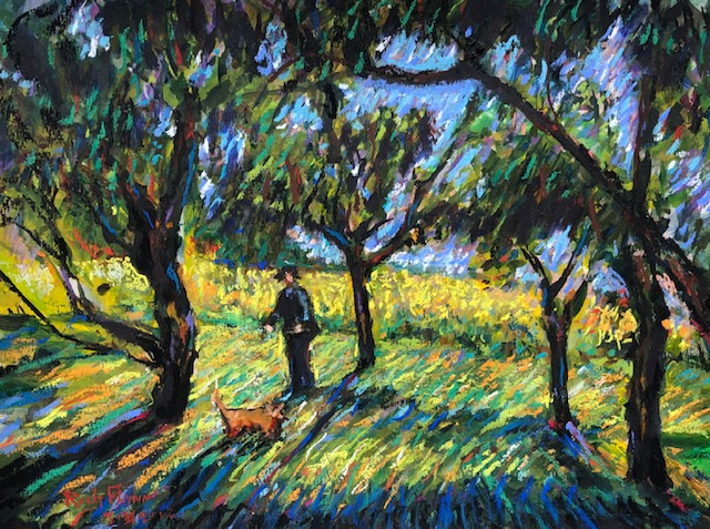 MADE IN THE SHADE   SONE THROW WINERY   San Juan Capistrano Ca.  watercolor / pastels  3-30-2020