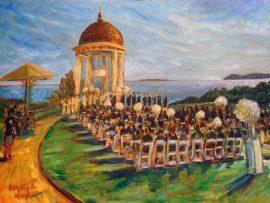Mckackin Calcagnie Wedding Ceremony  Pelican Hill Newport Coast Ca.  oil 30″ x 40″
