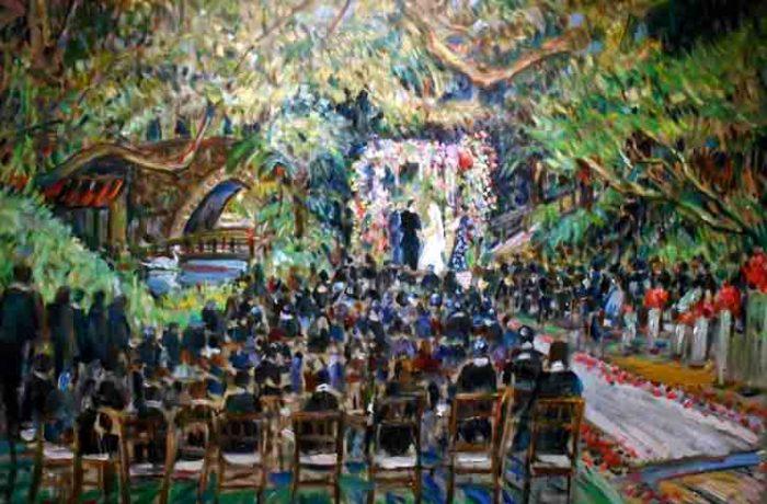 Gudai Wedding Ceremony  Hotel Bel Air Los Angeles Ca. oil 30″ x 40″