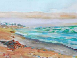 WAVES IN SAN CLEMENTE Ca water color 14″ x 10″