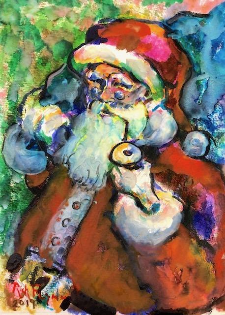 Sanata Claus    Watercolor & Watercolor Pens    14″ x 18″  12-22-19