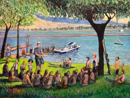 CRAIG'S BIRTHDAY GIFT    Commissioned    SKI WEST  BAKERSFIELD CA.  from photo's    oil  30″ x 40″  9-28-2020