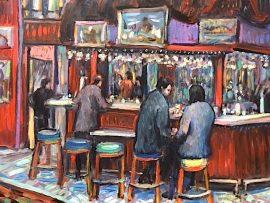 INSIDE BAR CAFE TU TU TANGO   OUTLETS OF ORANGE Ca.   oil   16″ x 20″ 1-24-19