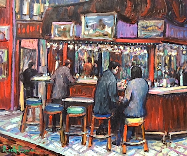 INSIDE BAR CAFE TU TU TANGO   OUTLETS OF ORANGE Ca.   oil   16″ x 20″ 1-24-19