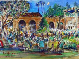 Concert at the Mission Featuring the Fab Four Mission San Juan Capistrano, Ca water color 14″ x 10″