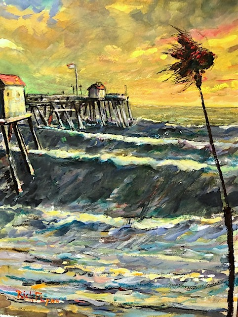 WIND AND PIER  San Clemente Ca.     Watercolor  12″ x 16″  1-30-2021  SOLD!