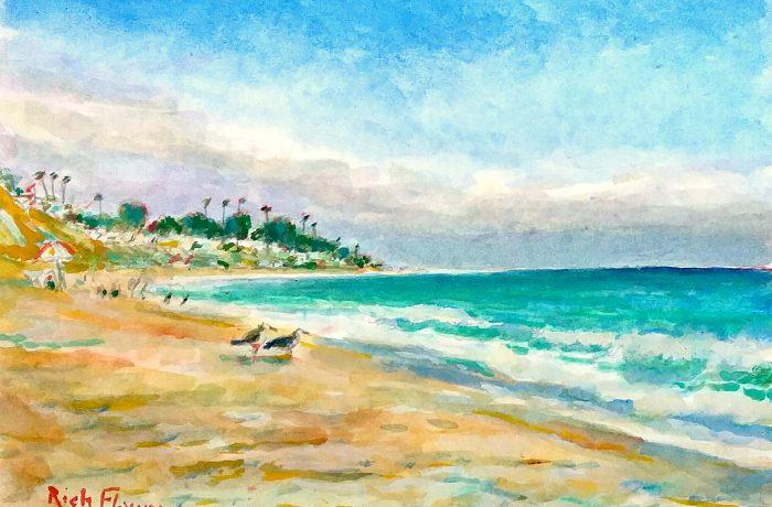 A BEACH DAY  San Clemente State Beach, Ca. watercolor 11″ x 15″ 10-11-16