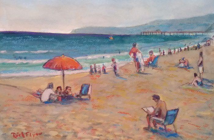 BEACHING DAY  watercolor mix media  14″ x 18″  8-16-16
