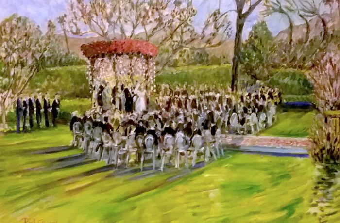 THE BRADY -TROTTER WEDDING  RANCHO MIRAGE Ca.  oil 30″ x 40″  4-8-17