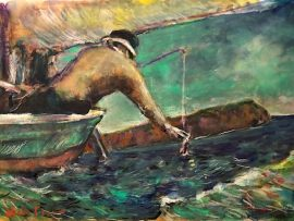 THE CATCH  OFF DANA POINT  IMAGINARY     WATERCOLOR  12″ X 9″  10-1-2021