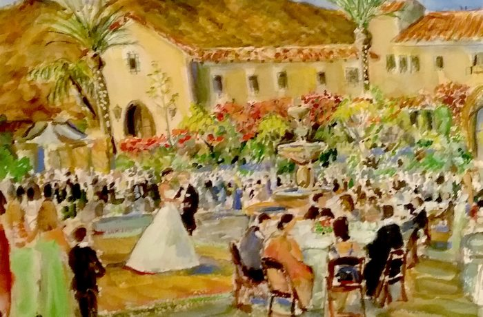 The Clement Wedding  Hummingbird Nest Ranch  Simi Valley Ca.  11″ x 16″ (Frist watercolor of a Live Wedding)  7-9-16