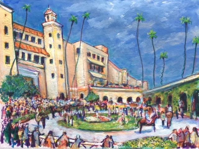 Del Mar Race Track   Watercolor  16″ x 20″   8-4-19