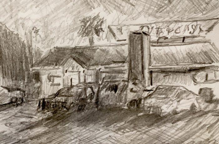 Road House Inn  San Bernardino Ca.  Drawing  10″ x 8″  2-26-17