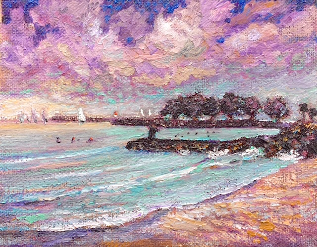DOHENY FIRST DAY OF SUMMER    OIL  8″ X 10″  6-22-18