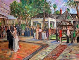 The Wedding Reception of Emily and Justin Ostermiller  Bele Oasis Mansion Las Vegas Nevada   oil 30″ x 40″  10-18-19