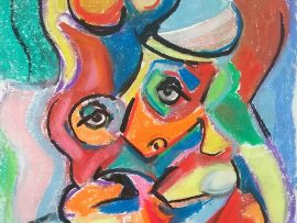 FACE MOOD 3  Pastel  14″ x 16″ 7-26-16
