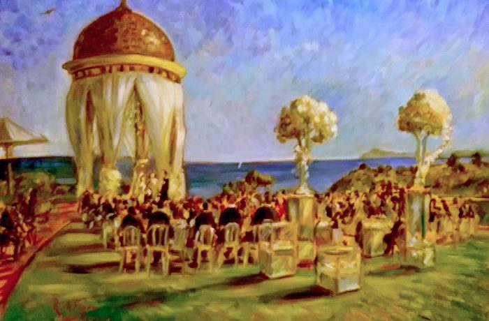THE FARPOUR WEDDING   PELICAN HILL RESORT  NEWPORT COAST Ca.  oil 30″ x 40″  5-27-17