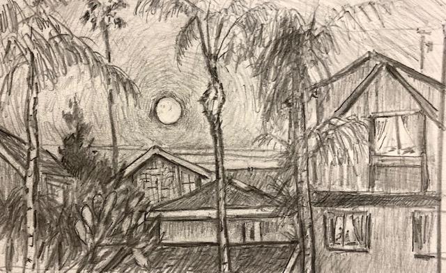 Full Moon Rising  Dana Point Ca.  Pencil  12″ x 14″ 12-11-19
