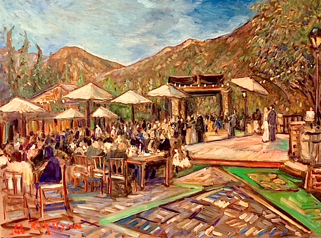 THE GERSON WEDDING     SERENDIPITY GARDENS OAK GLEN CA.  OIL  30″ X 40″  7-3-18