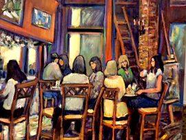 GIRLS NIGHT  CAFE TU TU TANGO  Outlets of Orange Ca.   oil  30″ x 30″  8-26-18