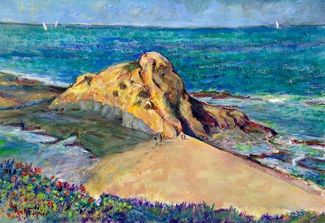 GOFF ISLAND LAGUNA BEACH Ca.    Watercolor  20″ x 14″  Commissioned  5-16-2020