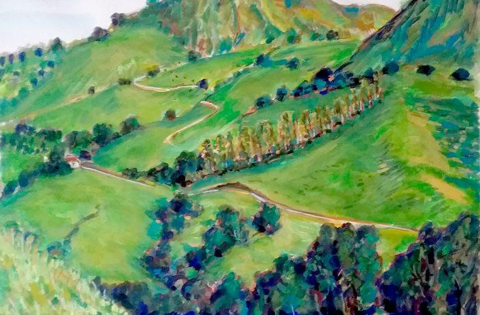 GREEN HILLS OF SAN JUAN CAPISTRANO  watercolor  16″ x 20″  3-3-17