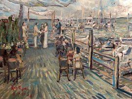 THE ROSS WEDDING  Le Bilboquet  Sag Harbor  Hamptons New York   oil  30″ x 40″ 8-19-2021