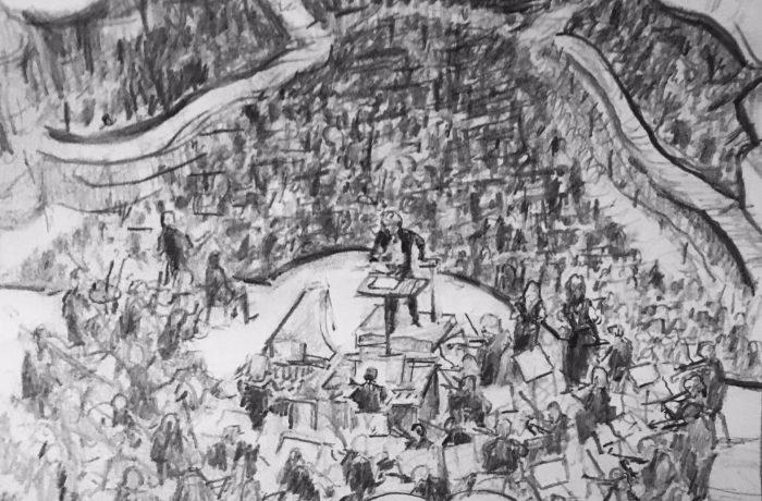 HANDEL'S MESSHIA   SEGREMSON CONCERT HALL  pencil 12″ x 9″ 12-3-17