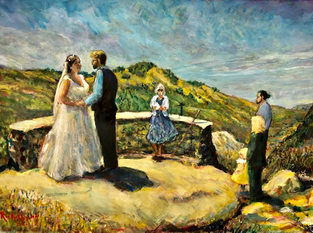 THE NYSTROM WEDDING  STUDIO/ WATERCOLOR  COMMISSION FOR THE PARENTS    JULIAN CA. 24″ X30″  8-25-2021