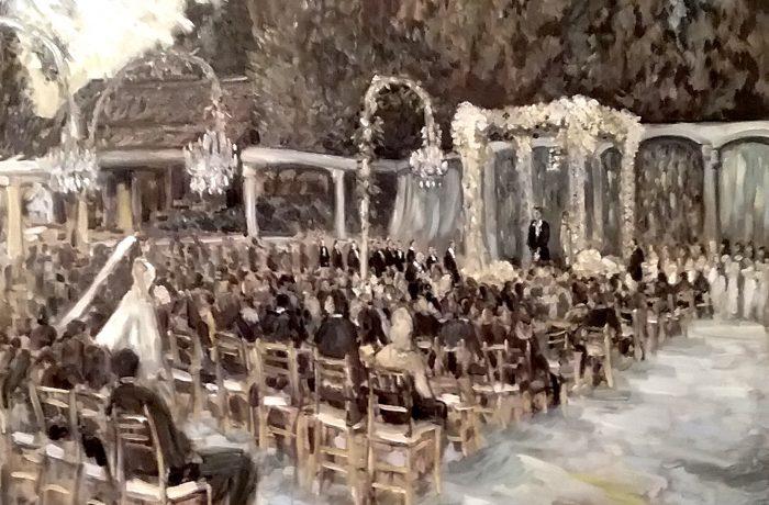 THE KAPLAN, MARCO WEDDING CEREMONY  in Black & White Tones   Hidden Hills Ca.    oil 30″ x 40″  9-16-17