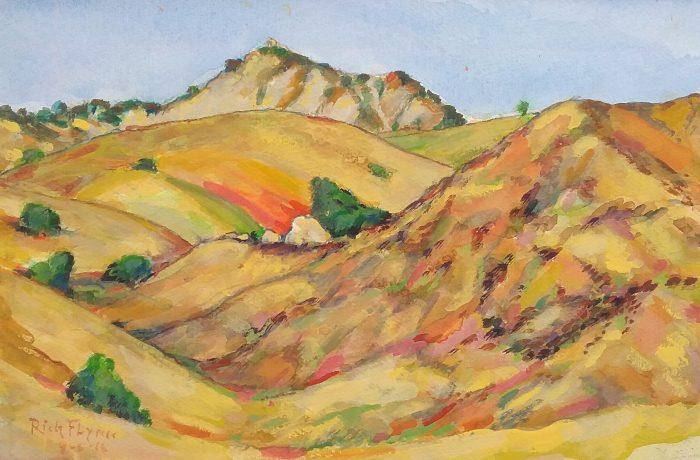 HILLS OF SAN JUAN CAPISTRANO   watercolor 14″ x 16″ 8-8-16