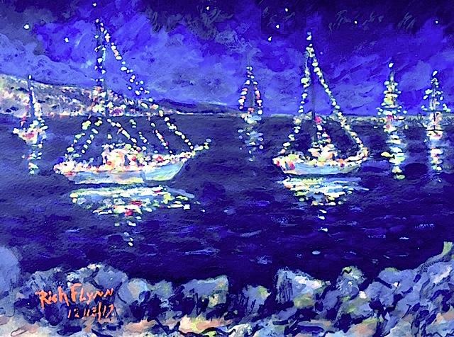 HOlIDAY BOAT PARADE   DANA POINT HARBOR Ca.  watercolor  12″ x 16″ 12-13-17