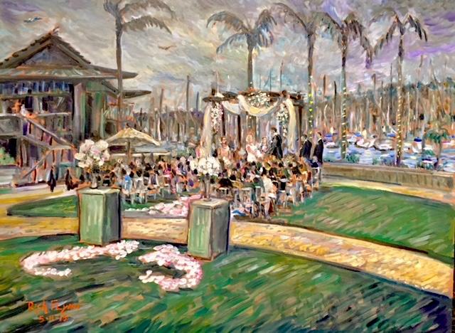 THE CEREMONY OF JAMMIE AND ARON   HUMPHREY'S HALF MOON BAY, SAN DIEGO CA.  oil  30″ x 40″  5-11-18