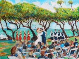 The Jorgensen Wedding (studio piece) water color 11″ x 15″
