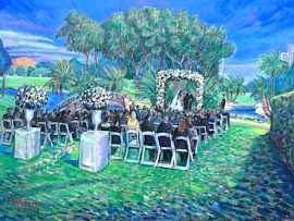 THE WEDDING CEREMONY OF KATIE & STEPHEN  LAS VEGAS COUNTRY CLUB  PAINTED LIVE, AND FINISHED IN STUDIO  OIL 30″ X 40″ 3-23-19