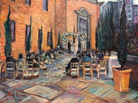 THE KELLY WEDDING CEREMONY   LIVE PAINTING     CALIFORNIA CLUB  Los Angeles Ca.  oil   30″x 40″  10-10-2020