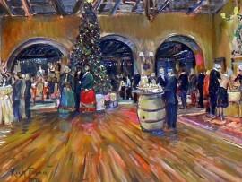 """A Dickens Night Christmas"" Virginia Country Club  Long Beach Ca  oil  30″ x 40″"
