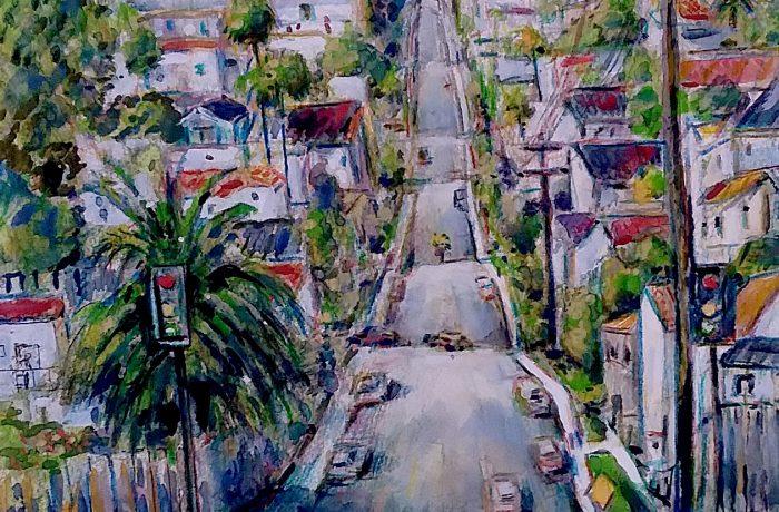 LA CRESTA ST.  DANA POINT Ca.  watercolor  12″ x 16″  8-29-17