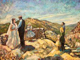 THE NYSTROM WEDDING    JULIAN CA.  OIL  30″ X 40″   6-12-2021