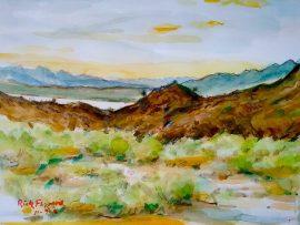ABOVE LAKE HAVASU  watercolor  11″ x 14″ 11-8-16