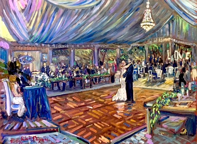 THE CRUSBERG WEDDING RECEPTION    Los Willows Estate  Fallbrook Ca. oil  30″ x 40″  9-15-18