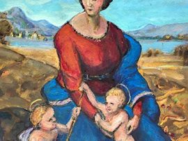 RAPHAEL'S MADONNA OF THE MEADOWS    WATERCOLOR  9″ X 12″  11-28-2020  SOLD!