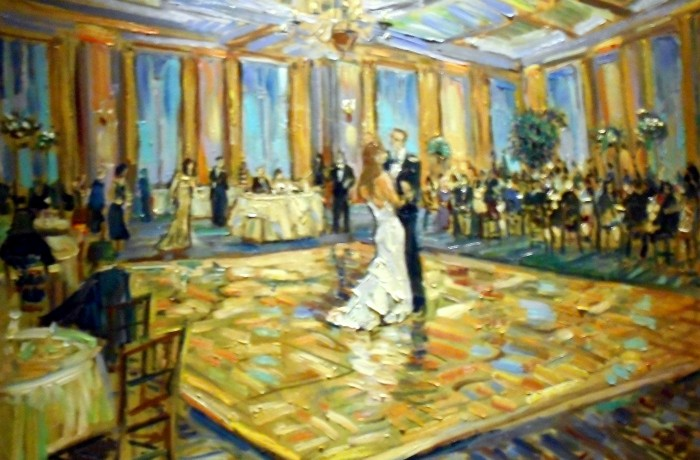 The Mclain Wedding   Pacific Club  Newport Beach, Ca.  oil  30″ x 40″ 6-19-15