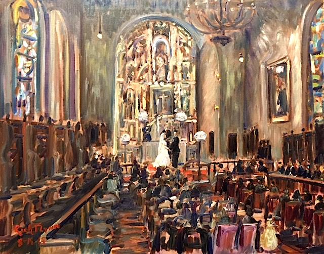 THE VARGAS WEDDING  CEREMONY    ST. FRANCIS CHAPEL  MISSION INN RIVERSIDE CA.  oil  24″ x 30″ 8-18-18