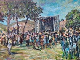 MISSIONFEST  RANCHO MISSION VEIJO  RIDING PARK  SAN JUAN CAPISTRANO CA.   SOLD AT AUCTION  OIL 30″ X 40″  7-10-2021