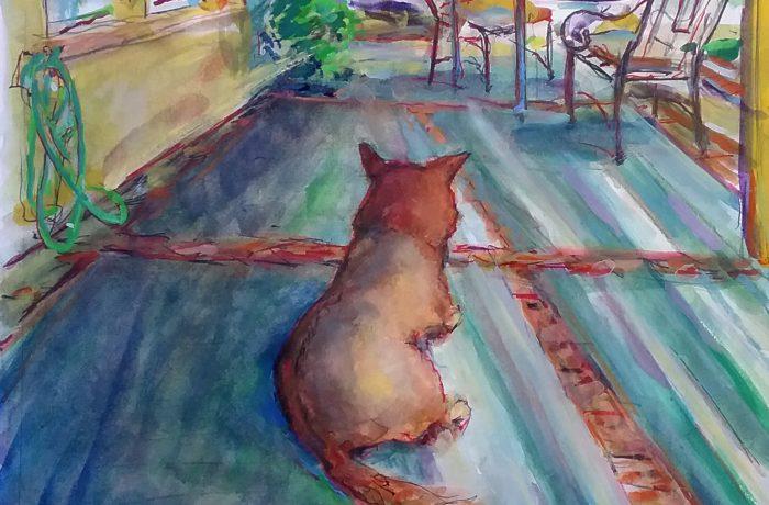DAY OF THE DOG (MOLLY DOG)  WATERCOLOR   12″X16″  San Juan Capistrano   5-20-17
