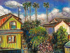 NIEGHBORHOOD  DANA POINT CA.  watercolor/ Pastel   9″ x 12″  3-23-2020