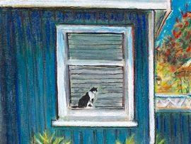 NEIGHBOR 'S CAT   DANA POINT   WATERCOLOR / PASTEL    9″ X 12″  3-26-2020  SOLD